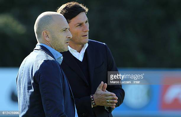 Sportif Director of FC Internazionale Milano Piero Ausilio and Vice President of FC Internazionale Milano Javier Zanetti look on during the FC...