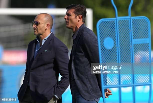 Sportif Director of FC Internazionale Milano Piero Ausilio and Vice President of FC Internazionale Milano Javier Zanetti look on during the FC...
