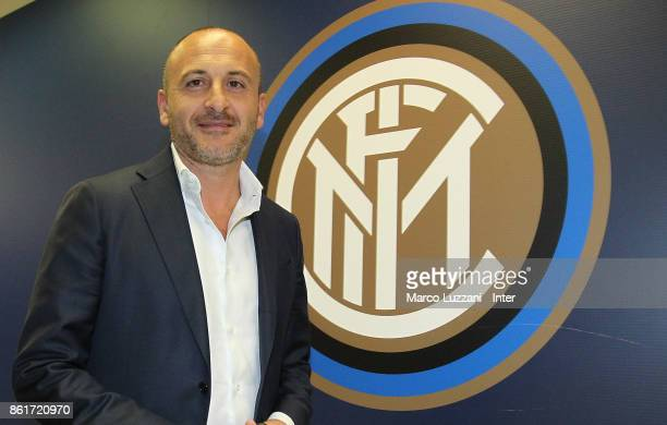 Sportif Director of FC Internazionale Milano Piero Ausilio arrives prior to the Serie A match between FC Internazionale and AC Milan at Stadio...