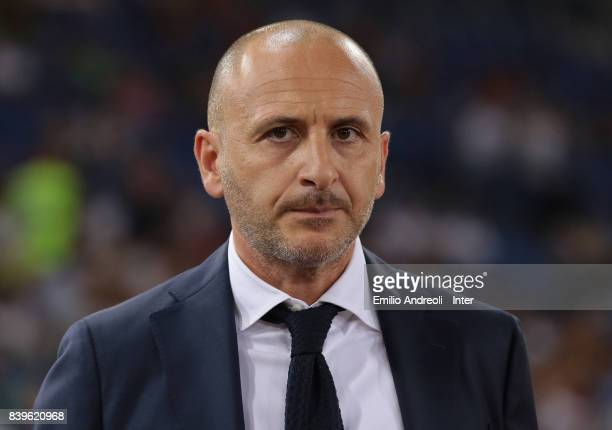 Sportif Director of FC Internazionale Milano Piero Ausilio looks on prior to the Serie A match between AS Roma and FC Internazionale on August 26...