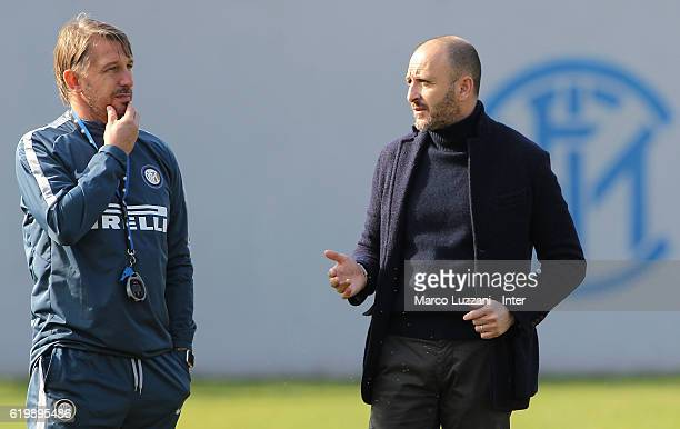 Sportif Director of FC Internazionale Milano Piero Ausilio speaks to FC Internazionale Milano coach Stefano Vecchi during the FC Internazionale...