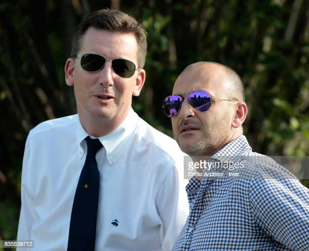 Sportif Director of FC Internazionale Milano Piero Ausilio speaks to FC Internazionale Milano Chief Communications Officier Robert Faulkner during...