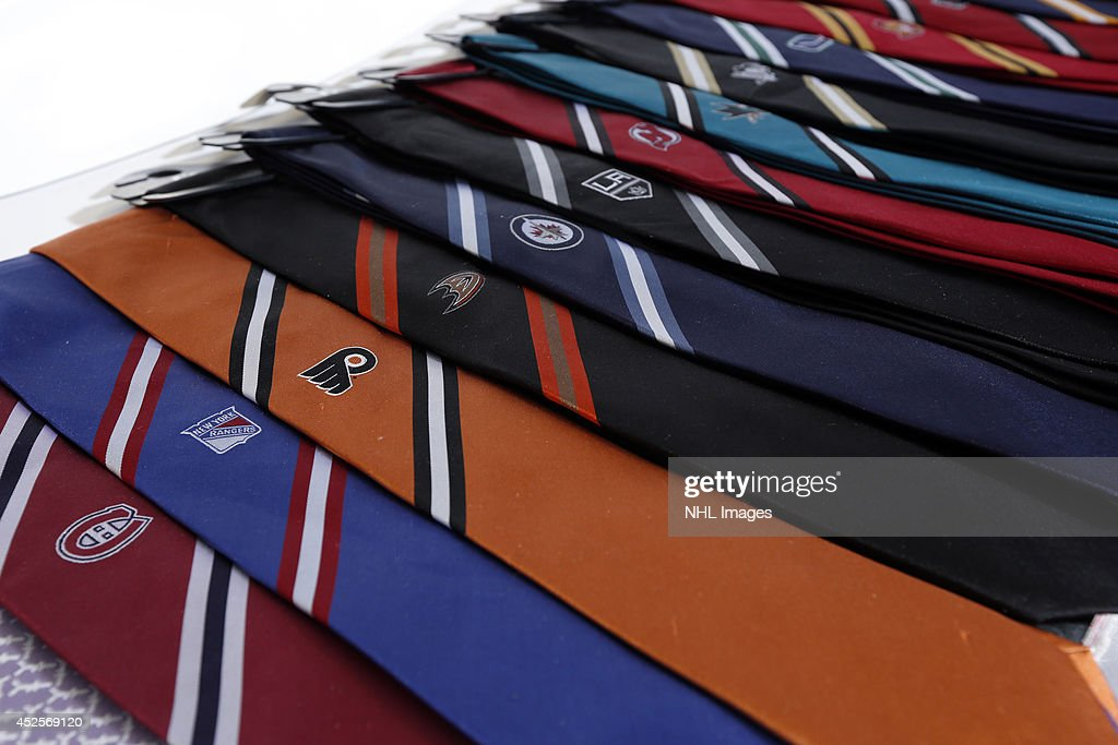Sportin' Styles displays their line of logo ties at the 2014 NHL Exchange at Pepsi Center on July 22, 2014, in Denver, Colorado.