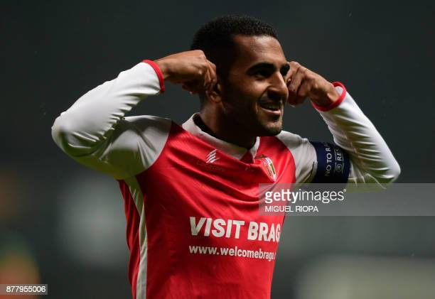 Sporting Braga's Brazilian defender Marcelo Goiano celebrates after scoring a goal during the Europa League football match SC Braga vs TSG 1899...
