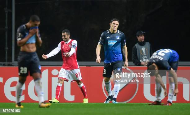 Sporting Braga's Brazilian defender Marcelo Goiano celebrates his team's goal during the Europa League football match SC Braga vs TSG 1899 Hoffenheim...