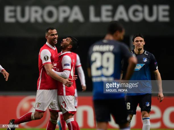 Sporting Braga's Brazilian midfielder Fransergio celebrates a goal with teammates during the Europa League football match SC Braga vs TSG 1899...