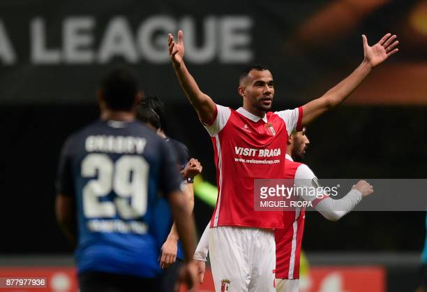 Sporting Braga's Brazilian midfielder Fransergio celebrates after scoring a goal during the Europa League football match SC Braga vs TSG 1899...