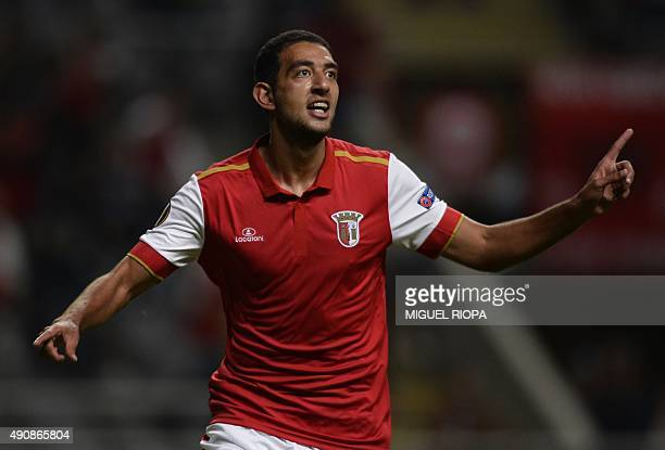Sporting Braga's Egyptian forward Ahmed Hassan celebrates after scoring a goal during the UEFA Europa League group F football match SC Braga vs FC...