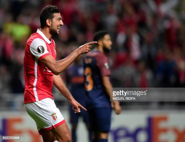 Sporting Braga's Egytian forward Ahmed Hassan celebrates after scoring the opening goal during the UEFA Europa league football match SC Braga vs...