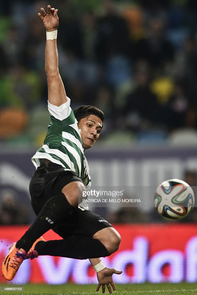 Sporting Colombian forward Fredy Montero kicks the ball during the Portuguese league football match Sporting vs Academica at the Alvalade stadium on February 2, 2014. The game ended in a draw 0-0.