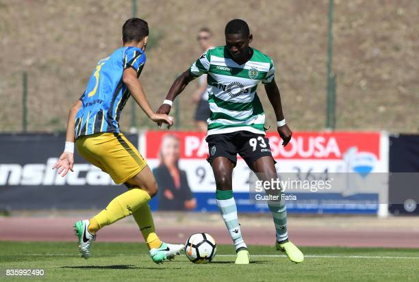 Sporting CP B forward Rafael Leao with Real SC defender Dmytro Lytvyn from Ukraine in action during the Segunda Liga match between Real SC and...