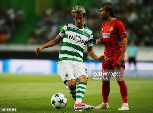 Sporting CP defender Fabio Coentrao from Portugal in action during the UEFA Champions League Qualifying PlayOffs Round First Leg match between...