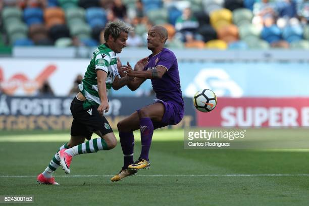Sporting CP defender Fabio Coentrao from Portugal vies with Fiorentina defender Bruno Gaspar from Portugal during the Five Violins Trophy match...