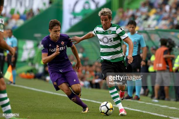 Sporting CP defender Fabio Coentrao from Portugal vies with Fiorentina forward Federico Chiesa from Italy during the Trophy Five Violins 2017 final...