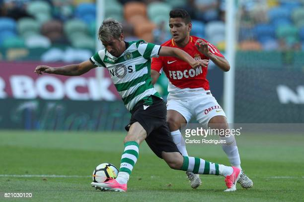 Sporting CP defender Fabio Coentrao from Portugal vies with Monaco midfielder Rony Lopes from Portugal during the Friendly match between Sporting CP...