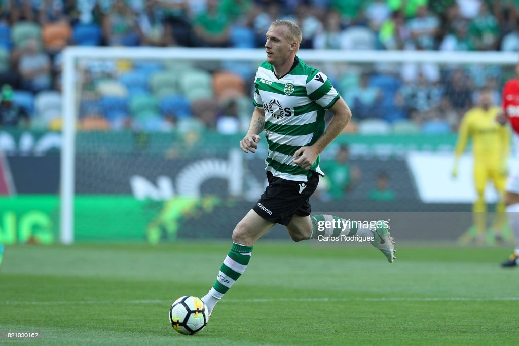 Sporting CP defender Jeremy Mathieu from France during the Friendly match between Sporting CP and AS Monaco at Estadio Jose Alvalade on July 22, 2017 in Lisbon, Portugal.