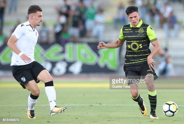 Sporting CP defender Jonathan Silva from Argentina with Vitoria Guimaraes forward Helder Ferreira from Portugal in action during PreSeason Friendly...