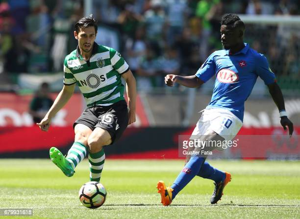 Sporting CP defender Paulo Oliveira from Portugal with Belenenses's forward Abel Camara from Portugal in action during the Primeira Liga match...