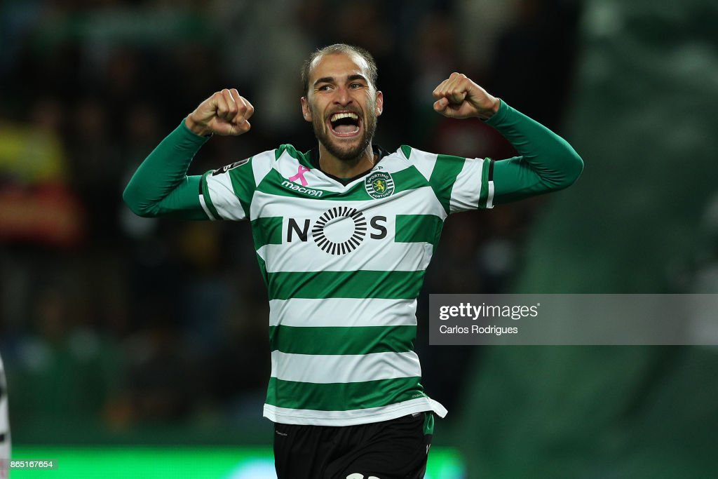 Sporting CP forward Bas Dost from Holland celebrates after scoring Sporting fifth goal during the Portuguese Primeira Liga round nine match between Sporting CP and GD Chaves at Estadio Jose Alvalade on October 22, 2017 in Lisbon, Portugal.