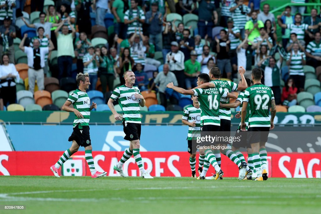 Sporting CP forward Bas Dost from Holland celebrates scoring Sporting second goal with his team mates during the Friendly match between Sporting CP and AS Monaco at Estadio Jose Alvalade on July 22, 2017 in Lisbon, Portugal.