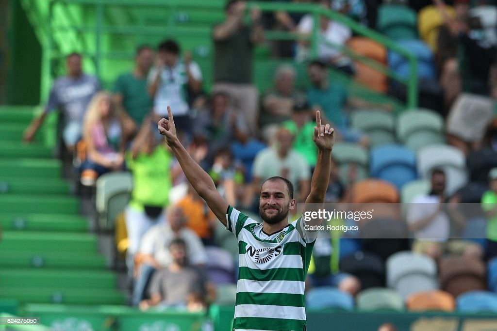 Sporting CP forward Bas Dost from Holland celebrates scoring Sporting goal during the Five Violins Trophy match between Sporting CP and AC Fiorentina at Estadio Jose Alvalade on July 29, 2017 in Lisbon, Portugal.