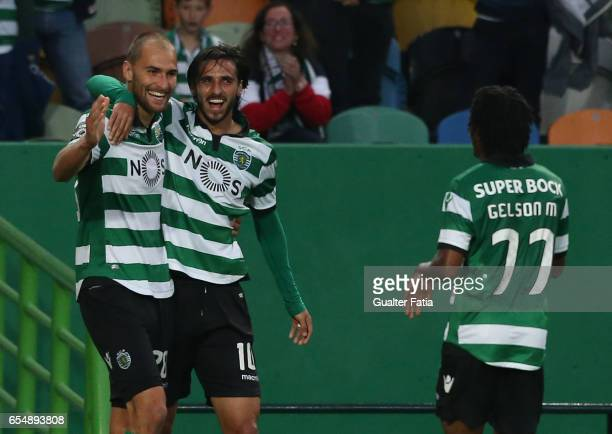 Sporting CP forward Bas Dost from Holland celebrates with teammate Sporting CP forward Bryan Ruiz from Costa Rica after scoring a goal during the...