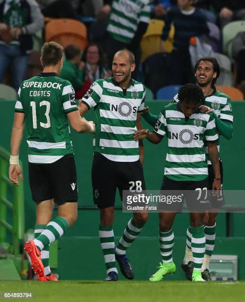 Sporting CP forward Bas Dost from Holland celebrates with teammates after scoring a goal during the Primeira Liga match between Sporting CP and CD...
