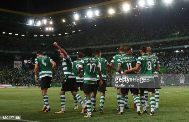 Sporting CP forward Bas Dost from Holland celebrates with teammates after scoring a goal during the Primeira Liga match between Sporting CP and...