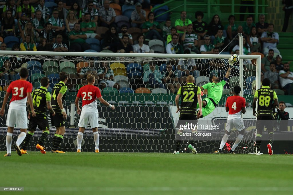 Sporting CP goalkeeper Rui Patricio from Portugal great safe during the Friendly match between Sporting CP and AS Monaco at Estadio Jose Alvalade on July 22, 2017 in Lisbon, Portugal.