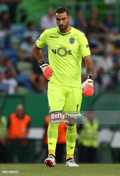 Sporting CP goalkeeper Rui Patricio from Portugal in action during the UEFA Champions League Qualifying PlayOffs Round First Leg match between...