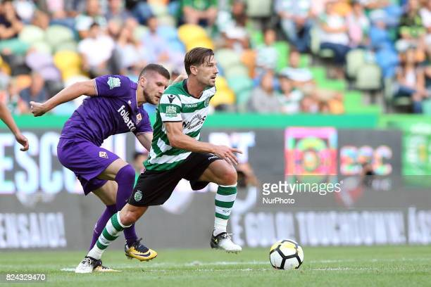 Sporting CP midfielder Adrien Silva from Portugal vies with Fiorentina midfielder Jordan Veretout from France during the Trophy Five Violins 2017...