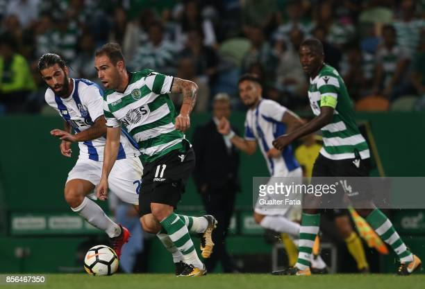 Sporting CP midfielder Bruno Cesar from Brazil with FC Porto midfielder Sergio Oliveira from Portugal in action during the Primeira Liga match...
