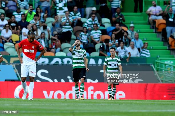 Sporting CP midfielder Bruno Fernandes from Portugal celebrates scoring Sporting first goal during the Friendly match between Sporting CP and AS...