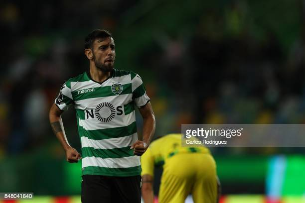 Sporting CP midfielder Bruno Fernandes from Portugal celebrates scoring Sporting second goal during the Portuguese Primeira Liga round 6 match...