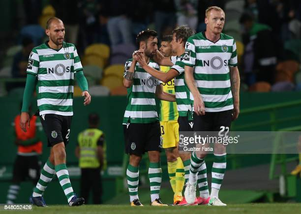 Sporting CP midfielder Bruno Fernandes from Portugal celebrates with teammate Sporting CP defender Fabio Coentrao from Portugal after scoring a goal...
