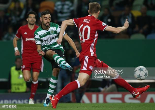 Sporting CP midfielder Bruno Fernandes from Portugal in action during the UEFA Champions League match between Sporting Clube de Portugal and...