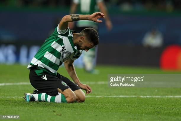 Sporting CP midfielder Bruno Fernandes from Portugal reacts during the UEFA Champions League match between Sporting CP and Olympiakos Piraeus at...