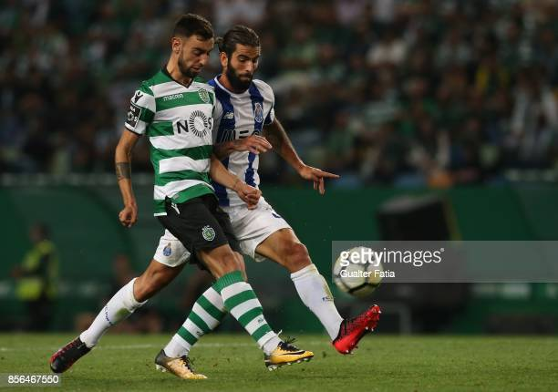 Sporting CP midfielder Bruno Fernandes from Portugal with FC Porto midfielder Sergio Oliveira from Portugal in action during the Primeira Liga match...