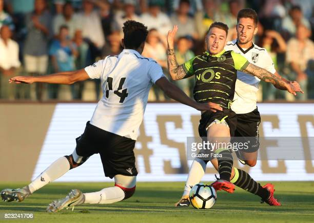 Sporting CP midfielder Iuri Medeiros from Portugal with Vitoria Guimaraes forward Joao Vigario from Portugal and Marcos Valente in action during...