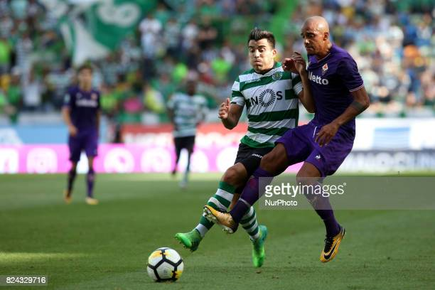 Sporting CP midfielder Marcos Acuna from Argentina fights for the ball with Fiorentina defender Bruno Gaspar from Portugal during the Trophy Five...