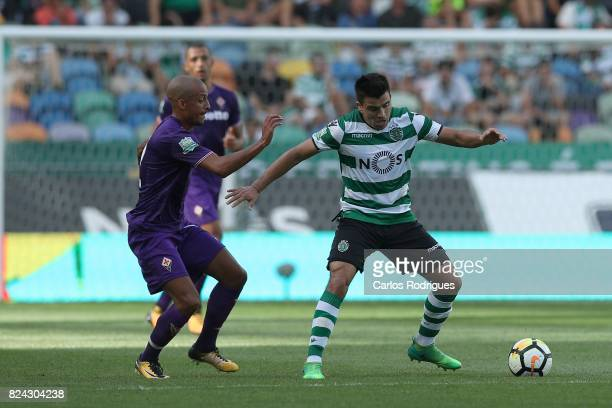 Sporting CP midfielder Marcos Acuna from Argentina tries to escape Fiorentina defender Bruno Gaspar from Portugal during the Five Violins Trophy...