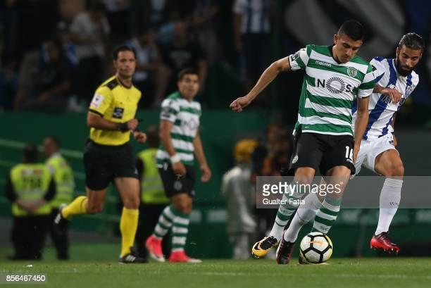 Sporting CP midfielder Rodrigo Battaglia from Argentina with FC Porto midfielder Sergio Oliveira from Portugal in action during the Primeira Liga...