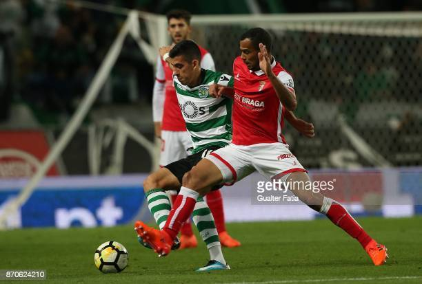 Sporting CP midfielder Rodrigo Battaglia from Argentina with SC Braga midfielder Fransergio from Brazil in action during the Primeira Liga match...