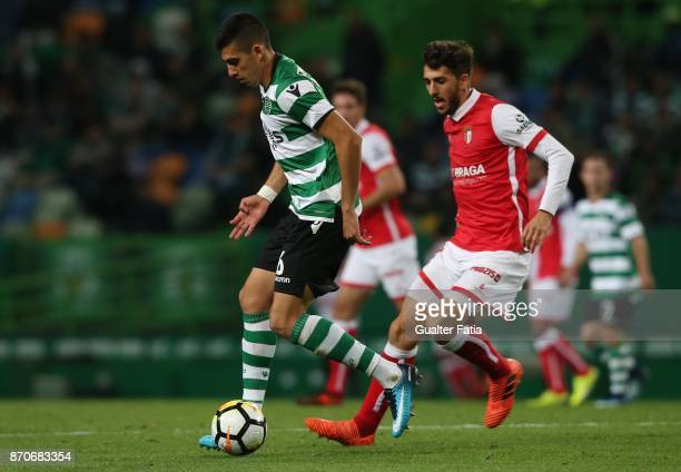 Sporting CP midfielder Rodrigo Battaglia from Argentina with SC Braga forward Paulinho from Portugal in action during the Primeira Liga match between...