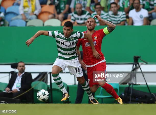 Sporting CP midfielder Rodrigo Battaglia from Argentina with Steaua Bucuresti FC forward Denis Alibec from Romania in action during the UEFA...