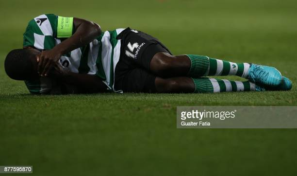 Sporting CP midfielder William Carvalho from Portugal injured during the UEFA Champions League match between Sporting Clube de Portugal and...
