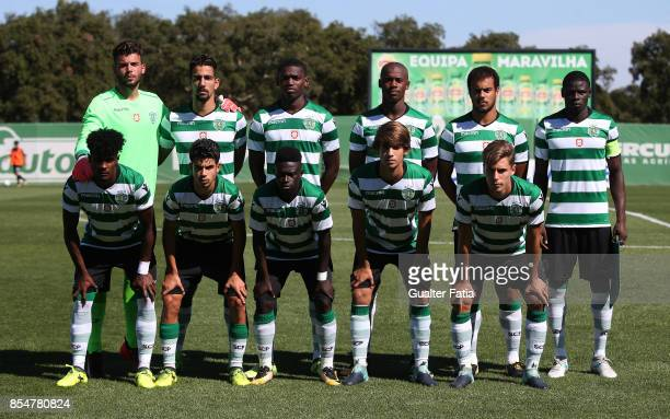 Sporting CP players pose for a team photo before the start of the UEFA Youth League match between Sporting CP and FC Barcelona at CGD Stadium Aurelio...