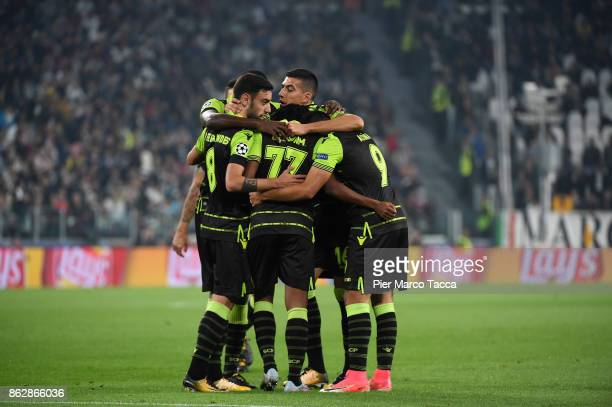 Sporting CP team celebrates during the UEFA Champions League group D match between Juventus and Sporting CP at Juventus Stadium on October 18 2017 in...