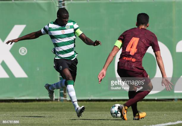 Sporting CP's Abdu Conte in action during the UEFA Youth League match between Sporting CP and FC Barcelona at CGD Stadium Aurelio Pereira on...