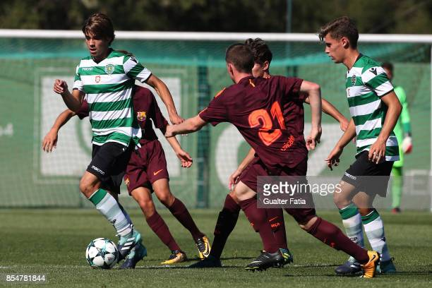 Sporting CP's Daniel Braganca in action during the UEFA Youth League match between Sporting CP and FC Barcelona at CGD Stadium Aurelio Pereira on...